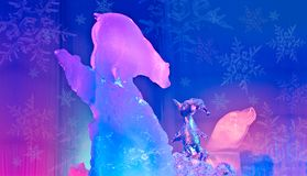 Ice Art bear and penguin looking at each other. Ice Magic, Sculpture, Ice Art bear and penguin looking at each other royalty free stock images