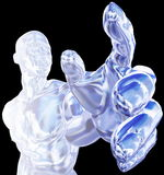 Ice Man Reaching Graphic. Blue and silver muscular man graphic, nude and shown from the waist upward, with his hand reaching toward the viewer. Isolated on black Stock Illustration