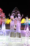 Ice marry. Wedding ice sculptures in harbin Royalty Free Stock Photo