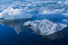 Ice melting in a lake Stock Photo