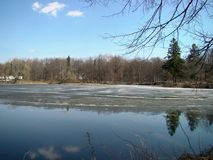 Spring park view with water. Ice melting on the pond in spring park Stock Image