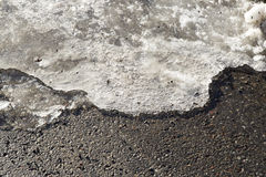 Ice Melting on Road. In winter Royalty Free Stock Photo