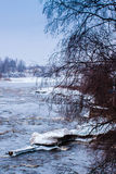 Ice Melting In A Spring River. The spring was already on it's way, but the snow surprised us all. The river almost froze again royalty free stock image