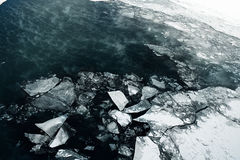 Ice melts on the winter river Royalty Free Stock Images