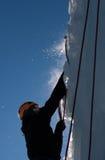 Ice & men. Man climbing an ice mountain in December 2010 Stock Photo