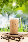 Ice milk coffee sweet drink on wooden table. Top on blurred nature light bokeh and green leaf with green grass Royalty Free Stock Photos