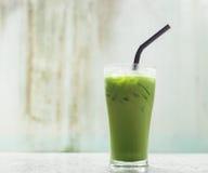 Ice milk green tea, famous drink Stock Photos