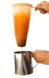 Ice milk tea making. Royalty Free Stock Photos
