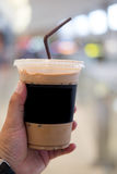 Ice mocha coffee. In young man hand Stock Image