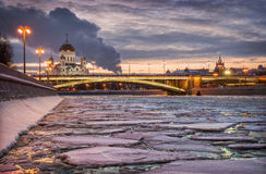Ice on the Moskva River. And the Christ the Savior Cathedral in night light lamps Royalty Free Stock Images