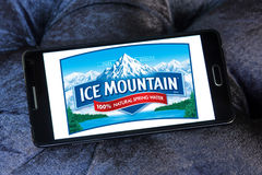 Ice mountain mineral water company logo. Logo of ice mountain mineral water company on samsung mobile stock photos