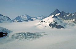 Ice and mountain Peaks in Glacier Bay Royalty Free Stock Image