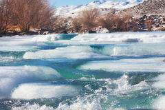 Ice on mountain river Royalty Free Stock Photo