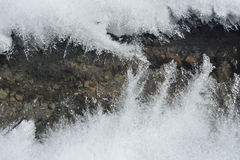 Ice and mountain river. Mountain frozen small river and spooky cracked ice Stock Photography