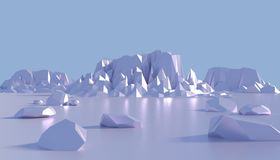 Ice mountains. 3D render. Beautiful abstract mountains in cold landscape Stock Image