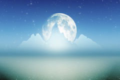 Ice mountains moon big Stock Photography