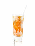 Ice nectar cocktail. Cocktail of peach nectar and ice cream isolated on white Stock Images