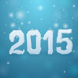 2015 Ice New Year background. On blue Stock Photos