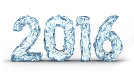 Ice new year number 2016. On white Royalty Free Stock Photo