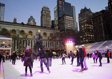 Ice at Night Bryant Park Royalty Free Stock Photos