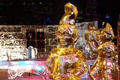 ice night scene sculpture Στοκ Φωτογραφίες