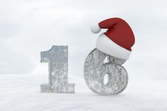 Ice Number 16 with christmas hat 3d rendering illustration Stock Photo