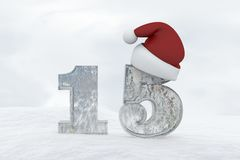 Ice Number 15 with christmas hat 3d rendering illustration Royalty Free Stock Photo