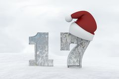 Ice Number 17 with christmas hat 3d rendering illustration Royalty Free Stock Photo