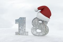 Ice Number 18 with christmas hat 3d rendering illustration Stock Image