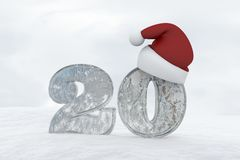 Ice Number 20 with christmas hat 3d rendering illustration Royalty Free Stock Image