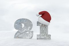 Ice Number 21 with christmas hat 3d rendering illustration Royalty Free Stock Photography