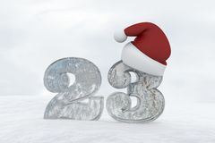 Ice Number 23 with christmas hat 3d rendering illustration Royalty Free Stock Photo