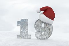 Ice Number 19 with christmas hat 3d rendering illustration Royalty Free Stock Image