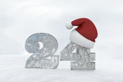 Ice Number 24 with christmas hat 3d rendering illustration Royalty Free Stock Images