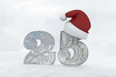 Ice Number 25 with christmas hat 3d rendering illustration Stock Photo