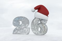 Ice Number 26 with christmas hat 3d rendering illustration Stock Images