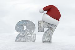 Ice Number 27 with christmas hat 3d rendering illustration Royalty Free Stock Photography