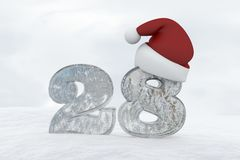 Ice Number 28 with christmas hat 3d rendering illustration Royalty Free Stock Images