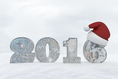 Ice Number 2016 with christmas hat 3d rendering illustration Royalty Free Stock Photography