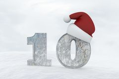Ice Number 10 with christmas hat 3d rendering illustration Stock Image