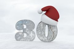 Ice Number 30 with christmas hat 3d rendering illustration Royalty Free Stock Image