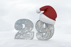 Ice Number 29 with christmas hat 3d rendering illustration Stock Images