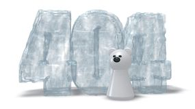 Ice number 404. Polar bear token and frozen number 404 on white background - 3d illustration Stock Image