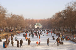 Ice on the Nymphenburg Palace Canal Royalty Free Stock Photography