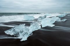 Free Ice On The Beach With Black Sand In Iceland Stock Image - 102659691
