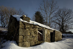 Ice pack. Old house in Tongue (Scotland) covered under snow Royalty Free Stock Images