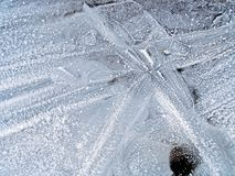 Ice Pattern. Close up of patterns on a frozen puddle Royalty Free Stock Photos