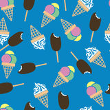 Ice pattern. Seamless pattern with sticks and cones vector illustration