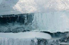 Ice patterns of Lake Baikal. Cracks and hummocks Royalty Free Stock Photo