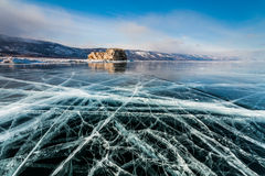 Ice patterns on Lake Baikal. Russia Royalty Free Stock Images